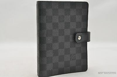 Auth Louis Vuitton Damier Graphite Agenda MM Day Planner Cover R20242 LV 22155