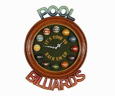 Wooden Billiard Clock Its Time to Rack 'Em Up Pub Sign 3D Art with FREE Shipping