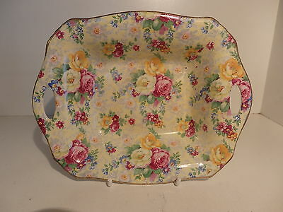 Lord Nelson Rose Time Chintz Open Handle Dish circa 1945