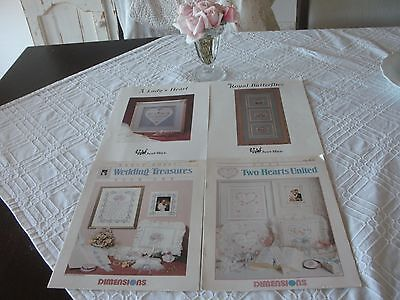 Lovely Cross Stitch Chart Leaflets X 4 - Just Nan & Dimensions Wedding Treasures