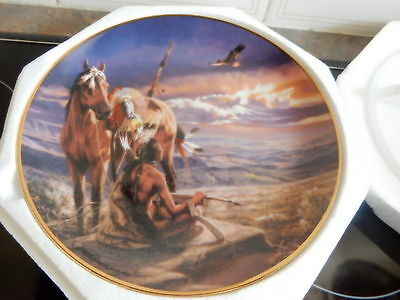 """Franklin Mint Indian Collector Plate  with Certificate """"SKYWATCHER"""""""