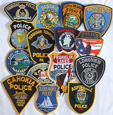 Mixed Lot of 15 different US/Int. Police Patches  NEW! Lot 1