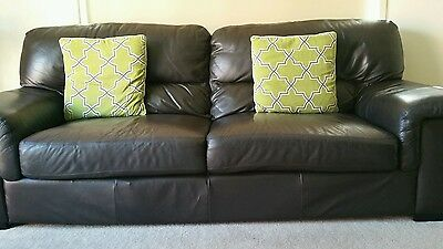 genuine leather 2 & 3 seater lounge in chocolate brown - Geelong area.