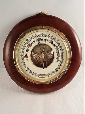 Vintage Barometer Made in Germany Wood Brass Beveled Glass Lens (AQ487)