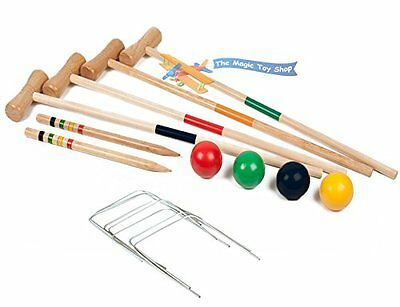 Wooden Croquet Set Family/Kids/Childrens 4 Player Complete Game Traditional 4 &