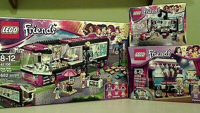 NEW! lot of 3 Lego Friends 41106 Pop Star Tour Bus 41004 Rehearsal Stage 41103