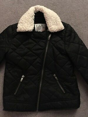Girls Quilted Black Jacket, Age 5-6