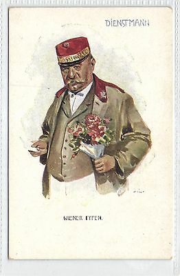 Austria,Wiener Type,Service Man,Dienstmann,Unused,Old Postcard
