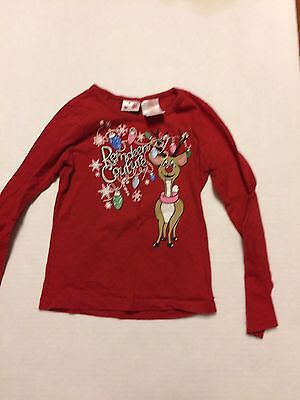 Girl Christmas shirt reindeer couture red LS size 6-6x