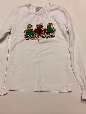 White LS Christmas Gingerbread shirt top girl size 10-12 XL