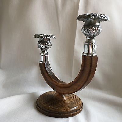 Vintage Retro Art Deco Wooden Plated Double Rotating Candlestick Asymmetric
