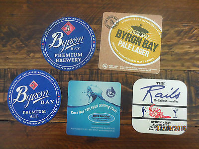 5 different BYRON BAY BREWERY  N.S.W. collectable COASTERS,
