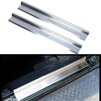 Stainless Steel Scuff Plate Door Sill Entry Guard For Jeep Wrangler JK 2007-2017