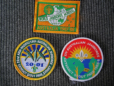 3 X Jamboree 1985 to 2001 Scout Badges Mondial & Cataract