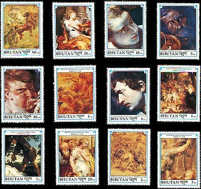 Bhutan 12V Stamp On Paintings By Paul Rubens,nude Paintings,all Mint,rare