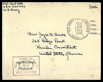 United States APO 629 1St Air Corps Ferrying Gp Nyc Dec 16 1942 Prpl Censored Co