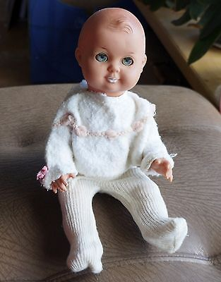 Vintage East German soft PLASTIC/Rubber BABY DOLL sleepy eyes tights, shirt