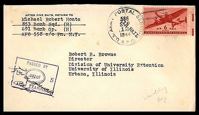 United States APO 586 491St Bomber Group Ny Sep 12 1944 Air Mail Purple Censored