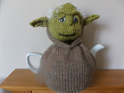 Hand Knitted Tea Cosy  - Yoda in Brown Robes