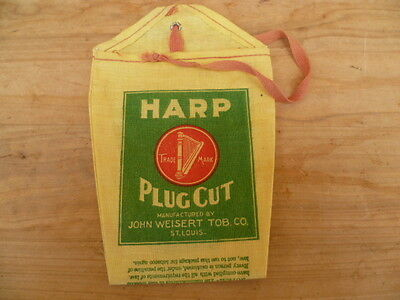 Vintage Old Original Harp Us Made Tobacco Advertising Pouch (C245)