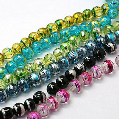 50X 6mm Multi-color DIY Jewelry Making Czech Glass Drawbench Loose Spacer Beads