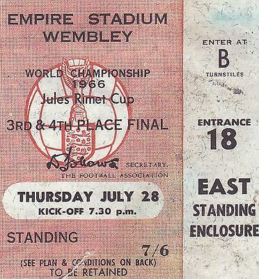 1966 World Cup Finals 3Rd/4Th Place Play-Off Ticket