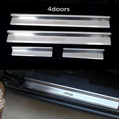 4 Pcs Stainless Steel Scuff Plate Door Sill Entry Guard For Jeep Wrangler JK 4Dr