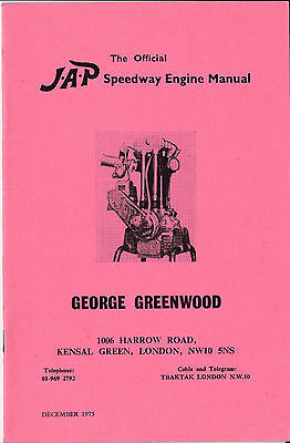 Very rare J.A.P. Official speedway engine manual George Greenwood 1973