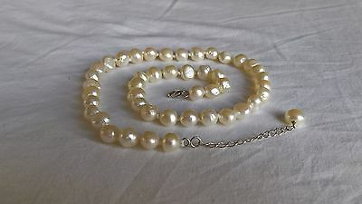 White Cultured Freshwater Pearl Necklace with Sterling Silver Clasp