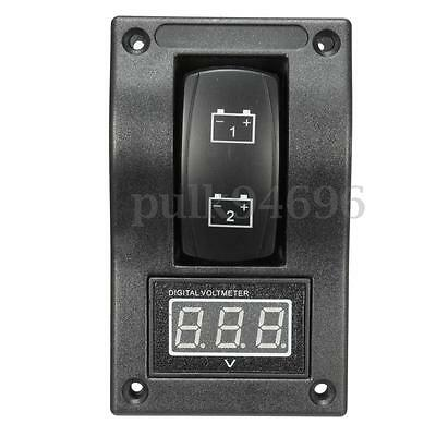 Marine Boat Voltmeter LED Dual Battery Test Panel Rocker Switch ON-OFF-ON 12/24v