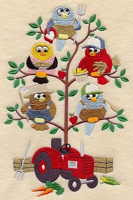 Embroidered Owl farming tweet quilt block, cushion panel,farm,tractor,machine