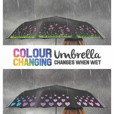 New Colour Changing Umbrella Brolly Flower Floral / Love Heart Design Ladies