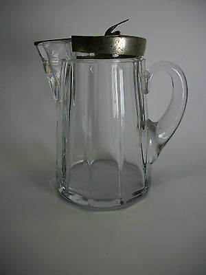 """Vintage Clear Glass Syrup Pitcher Metal Lid 4.5"""""""