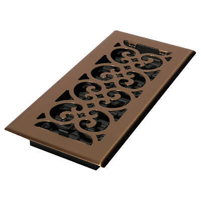 DECOR GRATES 4x10 Scroll Steel Plated Antique SPH410-A