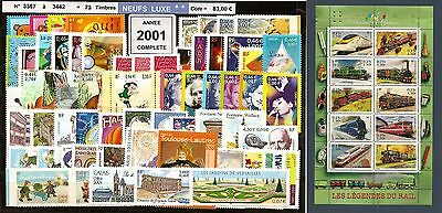 FRANCE Année COMPLETE 2001 - NEUF ** LUXE - 73 Timbres