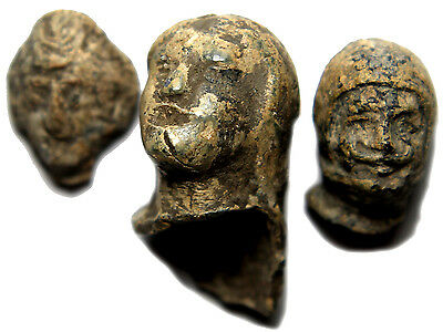 Lot Of (3)Roman Lead Heads Interesting!!