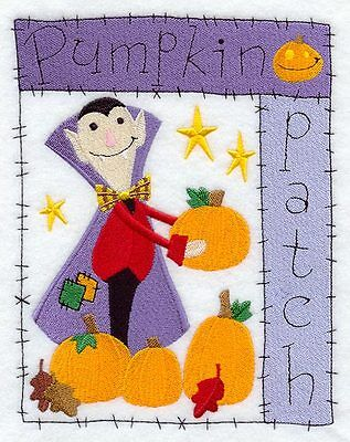 Embroidered pumpkin patch medley quilt block, halloween cushion panel,vampire