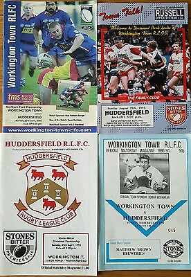 Huddersfield Giants v workington town 1991,1993×2, 2002 programmes rugby league