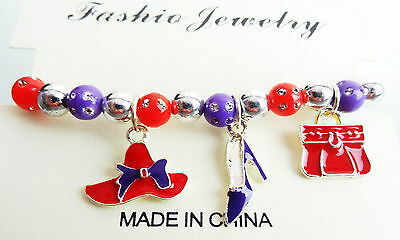 CUTE STRETCH Bead Bracelet w  CHARMS  RED HAT SOCIETY