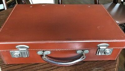 Vintage Cowhide Suitcase With Keys