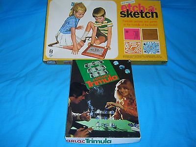 Vintage Etch a Sketch and Arlac Trimula (Marbles) Boxed Games. Great Condition