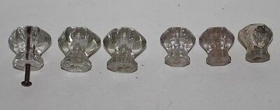 VTG Lot of 6 Clear Glass Drawer knobs Cabinet Pulls