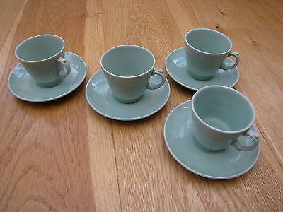 Vintage Wood's Ware cups and saucers, green Beryl, espresso