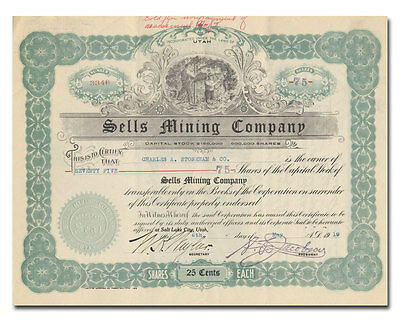 Sells Mining Company Stock Certificate