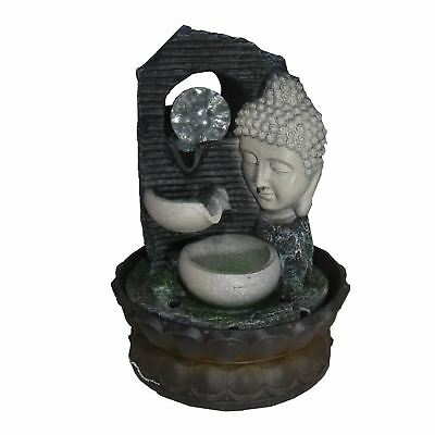 Indoor Buddha Table Top Waterfall Water Feature & Coloured LED Lighting