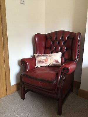 Stunning Chesterfield Ox Blood Leather Wingback Chair.