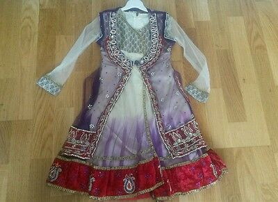 Baby girl net dress partywear eid lacha lenga shalwar kameez indian pakistani 24