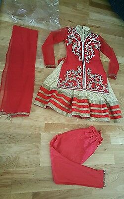 Girl's eid party red gold 3 piece indian Shalwar Kameez size 24 brand New