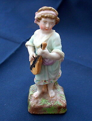 Sitzendorf Porcelain Figurine of a Child Angel Playing a Lute.  Leo Sign. C1890