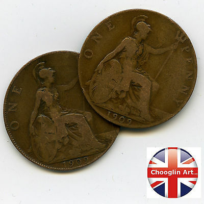 A pair of British Bronze 1909 EDWARD VII PENNY Coins
